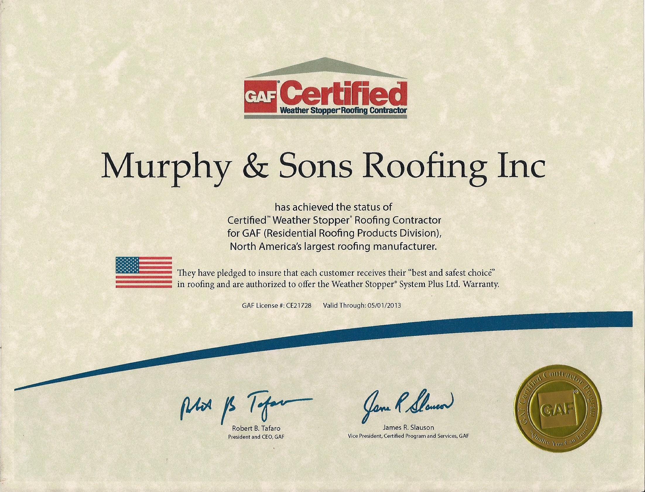 GAF Certificate 2012 13